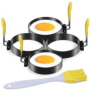 LEASEN Egg Rings, 4 Pack 3-Inch Food-grade Non-stick Coating Stainless Steel Pancake Mold with Anti-scald Silicone Handle, Used for Egg Mcmuffin, Sandwich, Omelets, Eggs Benedict, Pancakes, Yellow