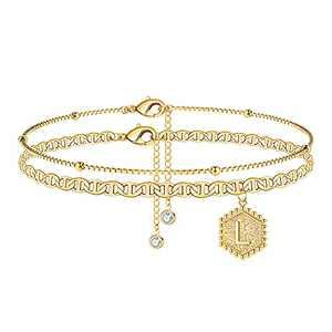 Anklet Bracelets for Women Gold Anklet, 14K Gold Plated Handmade Layered Box Chain Flat Mariner Hexagon Anklet Letter Initial Ankle Bracelets for Women Gold Summer Beach Foot Anklet Jewelry(L)