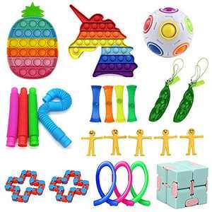 Peesio 24 Pack Sensory Fidget Packs Stress Relief Toys Kit for Kids ADHD Autism with Pop Tubes,Pineapple & Unicorn Pop Bubble Its Popitsfidgets,Puzzle Balls,Anti-Stress Simple Dimple Fidget Toys Set