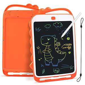 Feneya LCD Writing Tablet, 10 Inch Toddler Doodle Board with Rope, Educational and Learning Toys, Reusable Colorful Board Drawing Tablet for Kids 3-6 Years Old Boy Girls (Orange)