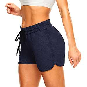 """TNNZEET 3"""" High Waist Shorts for Women - Lounge Activewear Yoga Athletic Workout Casual Shorts Navy Blue Heather"""