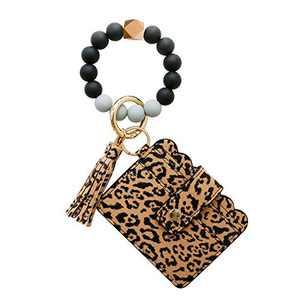Wristlet Keychain Bracelet Credit Card Holder Wallet Key Ring Silicone Tassel Keychain Beaded Bangle for Women(DarkLeopard)