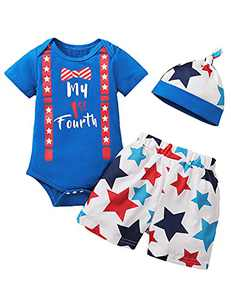 Shalofer Baby Boys My 1st Fourth Outfits Infant American Flag Shorts Clothes (Blue,0-3 Months)