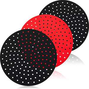 3 Pieces Reusable Air Fryer Liners, 9 Inch Round Silicone Air Fryer Basket Mats, Non-Stick Air Fryer Replacement Accessories Compatible with Cosori, NuWave, Chefman, Dash