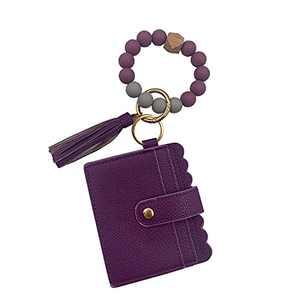 Wristlet Keychain Bracelet Credit Card Holder Wallet Key Ring Silicone Tassel Keychain Beaded Bangle for Women(Purple)
