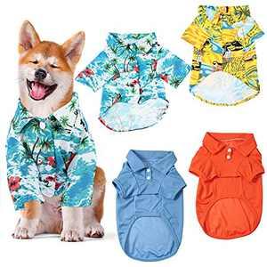 4 Pieces HawaiianDogCostume BreathablePetShirtDogShirts with Summer Style Beach Apparel Coconut Tree for Pet Dog