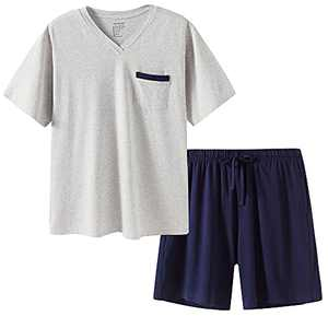 SANQIANG Lightweight Soft Cotton Spandex Stretchy Long/Short Pajamas Set for Men 2 Pieces Casual Men's Sleepwear S-XXL (VShorts-Grey/Navy, xx_l)