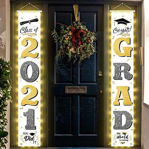 Graduation Decorations Banners with String Light -Class of 2021 & Congrats Graduation Hanging Banner Set for Outdoor/Indoor Home Front Door Wall,Great Fabric Porch Sign,Hemming Waterproof Strip Lights