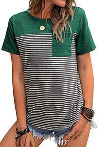 Tankaneo Women Short Sleeve Stripe T-Shirt Triple Color Block Tops O-Neck Casual Summer Tees with Pocket Green