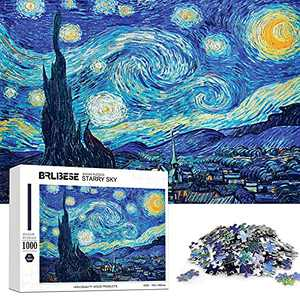 Jigsaw Puzzles 1000 Piece Adults Starry Night by Vincent Van Gogh-1000 Piece Puzzle Large Wooden Puzzles Kids Educational Fun Game Toys Gift for Home Decoratio (29.5in19.7in)
