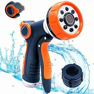 Garden Hose Nozzle, Heavy Duty Hose Nozzle with 8 Adjustable Watering Patterns, Flow Control, High Pressure Washer Sprayer Suitable For Watering Garden Cleaning Cars Showering Pets