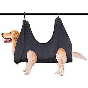 Homberry Dog Grooming Hammock Dog Grooming Harness for Nail Trimming, Restraint Soft Bag for Bathing Washing Grooming and Trimming Nails Black(Updated Material)