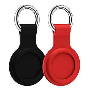 LowGeeker Case for AirTags, 2 Pack Silicone Protective Cover for AirTag Keychain Holder Accessories Tracker Finder Soft, Black/Red
