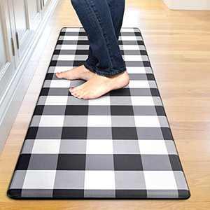 "Kitchen Mat Cushioned Anti-Fatigue Floor Mat, Waterproof Non-Slip Kitchen Rug Standing Mat Ergonomic Comfort Floor Mat Rug for Kitchen, Home, Office, Sink, Laundry, Desk (17.7""x59"", Black Plaid)"
