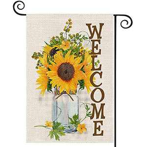 EKOREST Sunflowers Welcome Summer Garden Flags for Outside,12 x 18 Vertical Double Sided,Watercolor Sunflowers Mason Jar Decorative Farmhouse Flag for all Seasons,Small Yard Decor for Summer Outdoor