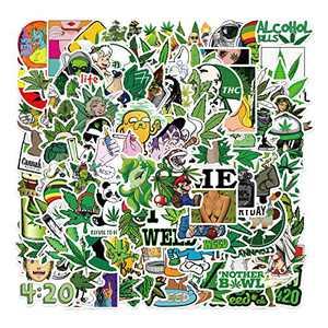 Weed Stickers,100pcs Vinyl Waterproof Marijuana Decals,Funny Green Graffiti Pot Cannabis Leaf Sticker for Adults Cool DIY Decoration for Laptop, Water Bottles, Guitar, Luggage Bike, Scrapbook