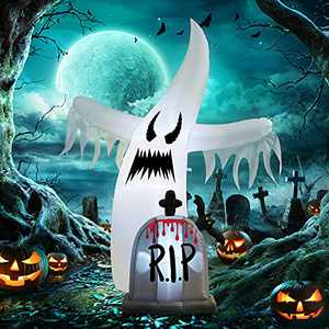 WBHome 6 Ft Halloween Inflatable White Ghost with Tombstone, Halloween Blow Up Yard Decoration with LED Light for Lawn Home Party Indoor Outdoor
