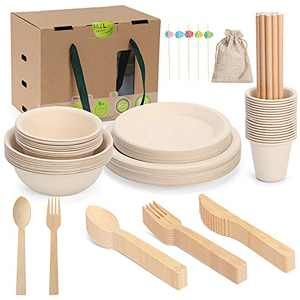 Compostable Disposable Dinnerware Set for Party Picnic, Biodegradable Cultery Utensils Include 160 Pcs Eco Friendly Bamboo Paper Plates, Bowls, Forks, Knives, Spoons, Cups and Straws