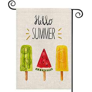 EKOREST Hello Summer Popsicles Garden Flags for Outside,12 x 18 Vertical Double Sided,Watercolor Ice Cream Decorative Farmhouse Flag for all Seasons,Small Yard Decor for Summer Holiday Outdoor Patio
