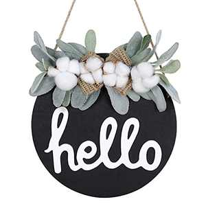OCIOLI Welcome Sign for Front Door Hello Sign Porch Decor Farmhouse Wreath Porch Decor 12 Inch Cotton Wreath Front Door Decorations with Premium Greenery.