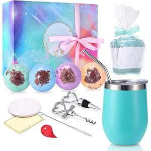 Fun Birthday Gifts for Women, Girls Unique Gift Set, Funny Birthday Christmas Gifts for Mom Wife Sister Girlfriend Her Female, Wine Tumbler with Lid Best Relaxing Spa Gift Box Present