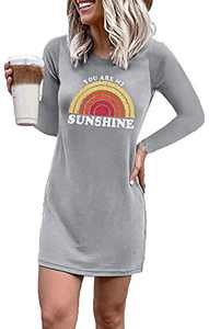 Women's Crew Neck Lip Printed Tunic Dress Long Sleeve Casual Graphic Tshirt Dresses