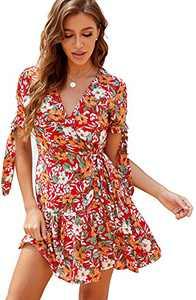 Summer Dress Women Short Sleeve Boho Wrap Dress V Neck Floral Mini Short Dress