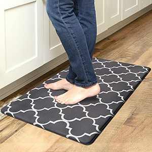 "Kitchen Mat Cushioned Anti-Fatigue Floor Mat, Waterproof Non-Slip Kitchen Rug Standing Mat Ergonomic Comfort Floor Mat Rug for Kitchen, Home, Office, Sink, Laundry, Desk (17.7""x30"", Black Trellis)"