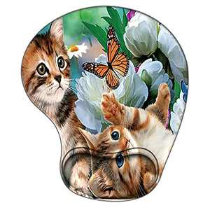 Animal Ergonomic Gaming Mouse Pad with Wrist Support, Pain Relief Non-Slip Rubber Base Mousepad for Laptop, Cute Kitten Mouse Pads as Home Office Desk Accessories Decor or Ideal Gift