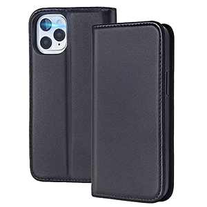 Nouske Genuine Leather Phone Case Designed for iPhone 12 Pro MAX Case [Magnet Flip Wallet Case] [Hybrid TPU Bumper Cover] [RFID Protection Holster] [Stand Foldable Folio Card Holder],Black