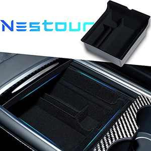 Nestour 2021 Tesla Model 3 Model Y Center Console Organizer Tray Accessories, Customized Hidden Cubby Drawer Storage Box, Premium ABS and Flocking Material with Sunglasses and Coin Holder