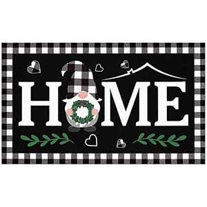 Buffalo Plaid Home Welcome Doormat Indoor Outdoor Farmhouse Gnome Front Porch Rugs Scandinavian Dwarf Wreath Floor Mat Gift Entrance Patio Greeting Carpet Decoration 17 x 30 Inches