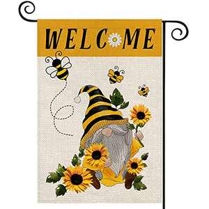 EKOREST Welcome Summer Gnome Garden Flags for Outside,12 x 18 Inch Vertical Double Sided,Gnome with Bees Sunflower Decorative Farmhouse Flag for all Seasons,Small Yard Decor for Summer Holiday Outdoor