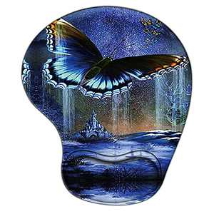 Animal Ergonomic Gaming Mouse Pad with Wrist Support, Pain Relief Non-Slip Rubber Base Mousepad for Laptop, Cute Purple Butterfly Mouse Pads as Home Office Desk Accessories Decor or Ideal Gift