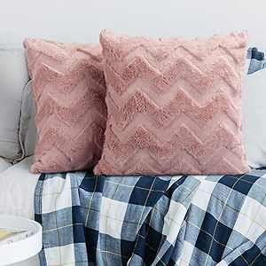 QTDLXFA Set of 2 18 x 18 Inch Decorative Throw Pillow Covers, Luxury Soft Plush Pink Square Pillow Cover, Home Decoration for Couch Sofa Bed