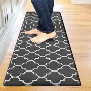 "Kitchen Mat Cushioned Anti-Fatigue Floor Mat, Waterproof Non-Slip Kitchen Rug Standing Mat Ergonomic Comfort Floor Mat Rug for Kitchen, Home, Office, Sink, Laundry, Desk (17.3""x59"", Black)"