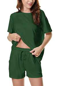 Welsters Women Pajama Set Tie Dye Lounge Sets Short Sleeve Sleepwear Shorts Set 2 Piece Outfits Loungewear Pj Sets S-3XL Army Green