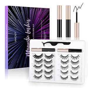 Magnetic Eyelashes with Eyeliner Kit 10 Pairs Magnetic Lashes Set Magnetic Eyeliner for Use with Magnetic False Lashes Natural Look No Glue Needed Easy to Wear and Reusable