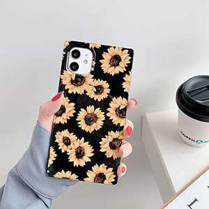 iPhone 11 Case for Women,YUESUE Cute Square Chrysanthemum Protective Case,Slim Elegant Soft TPU Silicone Cases Cover, for Apple iPhone 11 6.1 inch(Black&Yellow)