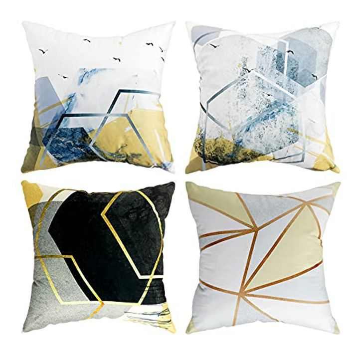 Decorative Square Cushion Covers Geometric 45x45cm Throw Pillow Cover with Invisible Zipper Pack of 4 18x18 Inch Pillow Cases for Living Room Sofa Bedroom Garden Outdoor