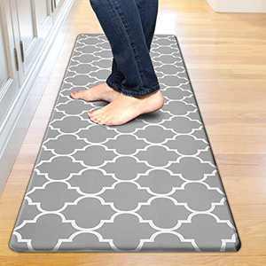 "Kitchen Mat Cushioned Anti-Fatigue Floor Mat, Waterproof Non-Slip Kitchen Rug Standing Mat Ergonomic Comfort Floor Mat Rug for Kitchen, Home, Office, Sink, Laundry, Desk (17.3""x59"", Grey)"
