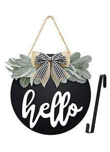 HUIMSWARM Welcome Sign for Front Door ,Welcome Sign with 1PCS Wreath Door Hanger,Interchangeable Welcome Sign, Home Decoration,Rustic Wooden and Premium Greenery