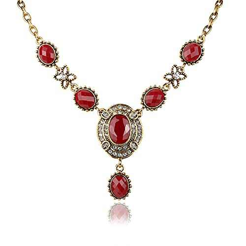 Exaggerated fashion necklace, retro temperament ladies necklace inlaid with rhinestones and rubies, all-match jewelry ladies bracelets (red)