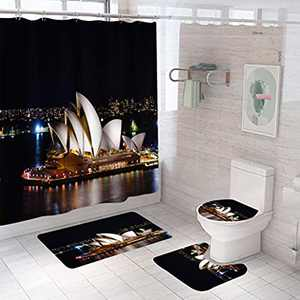 City Landscape of Sydney Bathroom Setswith Shower Curtainand Rugs and Accessories, Black Shower Curtain Sets with 12 Hooks, Bath Mat Set Bathroom Decor by Durable Waterproof Fabric Shower Curtain