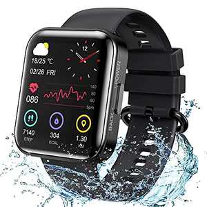 KOSPET Magic 3 Smartwatch,1.71 inch 3D Curved Full Touch Screen Smartwatch 20 Sports Modes Real Blood Oxygen Blood Pressure Test,Heart Rate and Sleep Monitoring IP68 Waterproof Bluetooth 5.0-Black