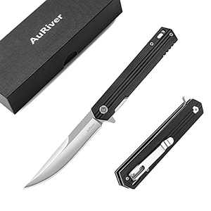Pocket Knife, 7Cr17 Stainless Steel Folding Knife with G10 Handle Safety Liner-Lock, EDC Tool Knife for Outdoor, Holiday Gifts for Men Dad Husband