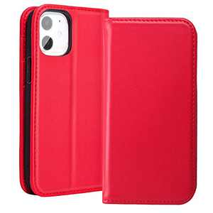 RedyRun 12 Mini Wallet Case for Women Folio Case with Top Grain Leather Card Pockets Soft TPU Shell Kickstand Folding Flip Cover for iPhone 12 Mini 5.4 inch - Carmine Red