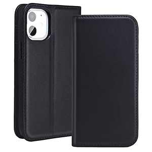 RedyRun Wallet Case for iPhone 12 Mini - Genuine Leather Wallet Case with 3 Card Holder Flip Cell Phone Case Shockproof Interior Protective Cover for Apple iPhone 12 Mini 5G 2020 5.4 inch - Jet Black