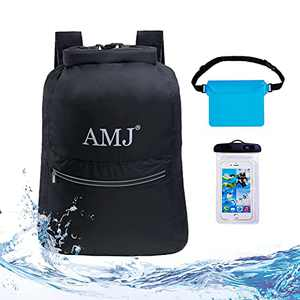 AMJ Waterproof Dry Bag Backpack for Women Men, 20L Lightweight Beach Backpack with Adjustable Waist Waterproof Pouch & Waterproof Phone Case, Black