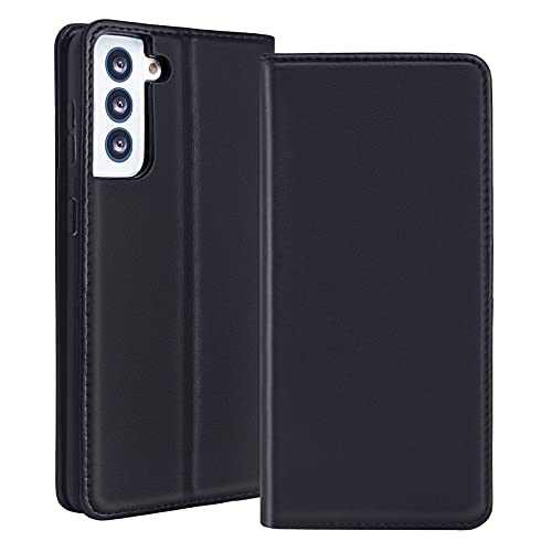 RedyRun Samsung Galaxy S21 Plus Wallet Case Genuine Leather Card Holder Flip Cell Phone Case Shockproof Interior Protective Cover for Samsung Galaxy S21+ 5G 6.7 inch - Jet Black